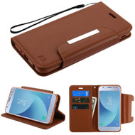 Designer Leather Wallet Shell Case for Samsung Galaxy J3 (2018) - Brown