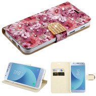 Luxury Bling Portfolio Leather Wallet Case for Samsung Galaxy J3 (2018) - Summer Blossom