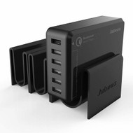 6 Port 50W Quick Charge 2.0 Desktop USB Charger with Detachable Docking Stations - Black