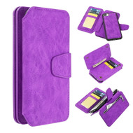 Luxury Coach Series Leather Wallet with Detachable Magnetic Case for iPhone 8 Plus / 7 Plus / 6S Plus / 6 Plus - Purple