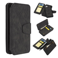3-IN-1 Luxury Coach Series Leather Wallet with Detachable Magnetic Case for iPhone 8 / 7 / 6S / 6 - Black