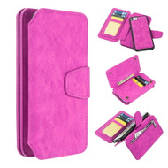 3-IN-1 Luxury Coach Series Leather Wallet with Detachable Magnetic Case for iPhone 8 / 7 / 6S / 6 - Hot Pink