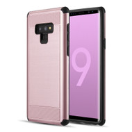 Brushed Texture Armor Anti Shock Hybrid Case for Samsung Galaxy Note 9 - Rose Gold