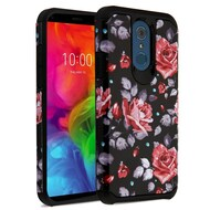 Hybrid Multi-Layer Armor Case for LG Q7 Plus - Rose Black