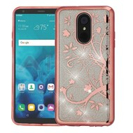 Electroplating Quicksand Glitter Transparent Case for LG Stylo 4 - Maple Vine