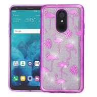 Electroplating Quicksand Glitter Transparent Case for LG Stylo 4 - Purple Flamingo Land