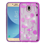 Electroplating Quicksand Glitter Transparent Case for Samsung Galaxy J7 (2018) - Purple Flamingo Land