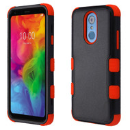 Military Grade Certified TUFF Hybrid Armor Case for LG Q7 Plus - Black Red