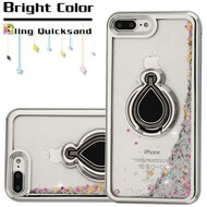Electroplating Quicksand Glitter Case with Smart Loop Ring Holder for iPhone 8 Plus / 7 Plus - Silver