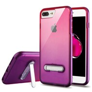 Bumper Shield Clear Transparent TPU Case with Magnetic Kickstand for iPhone 8 Plus / 7 Plus - Purple Hot Pink