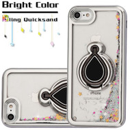 Electroplating Quicksand Glitter Case with Smart Loop Ring Holder for iPhone 8 / 7 - Silver