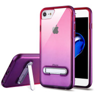 Bumper Shield Clear Transparent TPU Case with Magnetic Kickstand for iPhone 8 / 7 - Purple Hot Pink