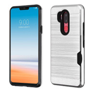 ID Card Slot Hybrid Case for LG G7 ThinQ - Silver