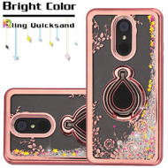 Electroplating Quicksand Glitter Case with Smart Loop Ring Holder for LG Stylo 4 - Rose Gold Silver