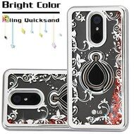 Electroplating Quicksand Glitter Case with Smart Loop Ring Holder for LG Stylo 4 - Silver Rose Gold