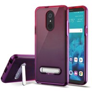 Bumper Shield Clear Transparent TPU Case with Magnetic Kickstand for LG Stylo 4 - Purple Hot Pink