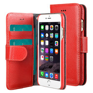 *SALE* Genuine Cowhide Leather Wallet with Card Slot and Magnetic Flap for iPhone 6 / 6S - Red