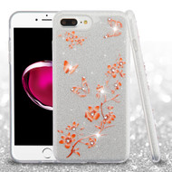 Full Glitter Diamond Hybrid Protective Case for iPhone 8 Plus / 7 Plus - Butterflies Spring Flowers