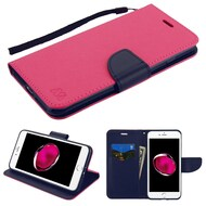 Leather Wallet Shell Case for iPhone 8 Plus / 7 Plus - Hot Pink Navy Blue