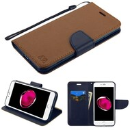 Leather Wallet Shell Case for iPhone 8 Plus / 7 Plus - Brown Navy Blue