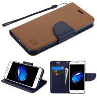 Leather Wallet Shell Case for iPhone 8 / 7 - Brown Navy Blue