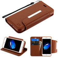 Designer Leather Wallet Shell Case for iPhone 8 / 7 - Brown