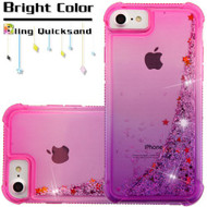 Confetti Quicksand Glitter Electroplating Transparent Case for iPhone 8 / 7 / 6S / 6 - Gradient Purple