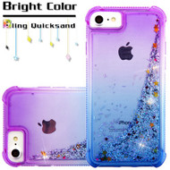 Confetti Quicksand Glitter Electroplating Transparent Case for iPhone 8 / 7 / 6S / 6 - Gradient Blue