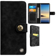 Faux Suede Leather Wallet with Detachable Magnetic Case for Samsung Galaxy Note 9 - Black