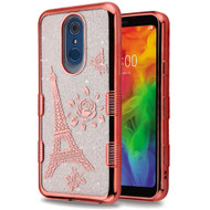 Electroplating Tuff Lite Quicksand Case for LG Q7 Plus - Eiffel Tower