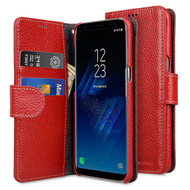 *SALE* Genuine Cowhide Leather Wallet with Card Slot and Magnetic Flap for Samsung Galaxy S8 Plus - Red