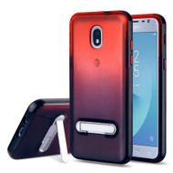 Bumper Shield Clear Transparent TPU Case with Magnetic Kickstand for Samsung Galaxy J3 (2018) - Black Red