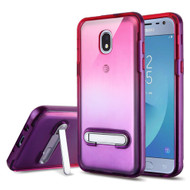 Bumper Shield Clear Transparent TPU Case with Magnetic Kickstand for Samsung Galaxy J3 (2018) - Purple Hot Pink