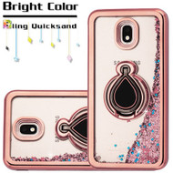 Electroplating Quicksand Glitter Case with Smart Loop Ring Holder for Samsung Galaxy J7 (2018) - Rose Gold
