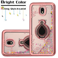 Electroplating Quicksand Glitter Case with Smart Loop Ring Holder for Samsung Galaxy J7 (2018) - Rose Gold Silver