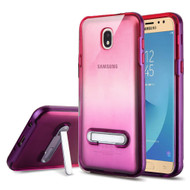 Bumper Shield Clear Transparent TPU Case with Magnetic Kickstand for Samsung Galaxy J7 (2018) - Purple Hot Pink