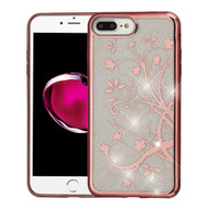 Electroplating Quicksand Glitter Transparent Case for iPhone 8 Plus / 7 Plus - Maple Vine