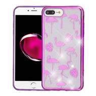 Electroplating Quicksand Glitter Transparent Case for iPhone 8 Plus / 7 Plus - Purple Flamingo Land