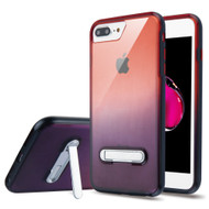 Bumper Shield Clear Transparent TPU Case with Magnetic Kickstand for iPhone 8 Plus / 7 Plus - Black Red