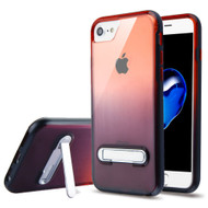 Bumper Shield Clear Transparent TPU Case with Magnetic Kickstand for iPhone 8 / 7 - Black Red