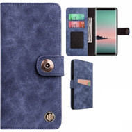 Faux Suede Leather Wallet with Detachable Magnetic Case for Samsung Galaxy Note 9 - Blue