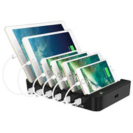 Quick Charge 3.0 Power Hub Multi-Charger Dock with 6 USB Ports - Black