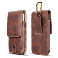 Premium Vertical Leather Pouch Case with Carabiner Clip - Brown 55164