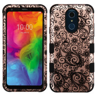 Military Grade Certified TUFF Hybrid Armor Case for LG Q7 Plus - Four Leaves Clover Rose Gold
