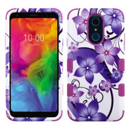 Military Grade Certified TUFF Hybrid Armor Case for LG Q7 Plus - Purple Hibiscus Flower