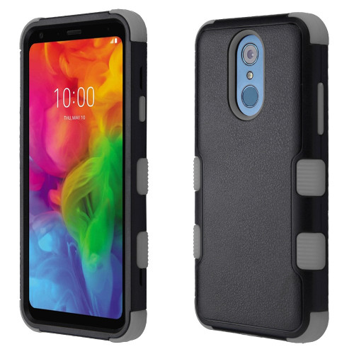 Military Grade Certified TUFF Hybrid Armor Case for LG Q7 Plus - Black Grey