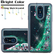 Quicksand Glitter Transparent Case for LG Q7 Plus - Teal Green