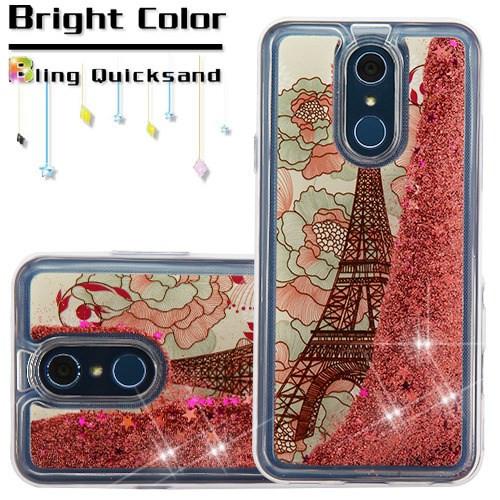 Quicksand Glitter Transparent Case for LG Q7 Plus - Eiffel Tower