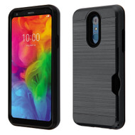 ID Card Slot Hybrid Case for LG Q7 Plus - Black