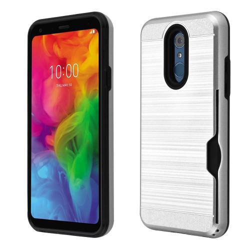 ID Card Slot Hybrid Case for LG Q7 Plus - Silver